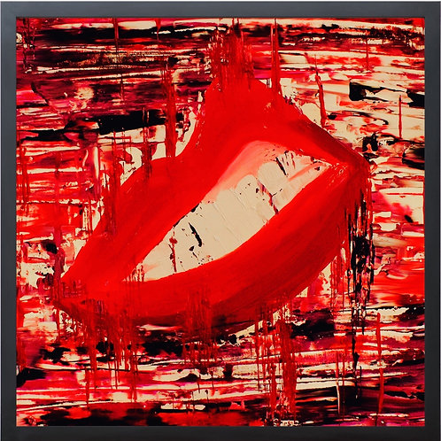 """Abstract Art LIPS 2 Clinching Teeth With Gallery Frame 21"""" x 21""""  Made In The USA By Concetta Ellis"""