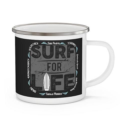 Enamel Campfire Mug | Surf For Life | Black | LA & OC