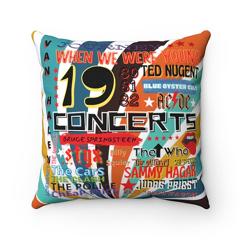 Rock N Roll Pillow | Retro Rock N Roll Pillow And Cover | 80s Concert Pillow