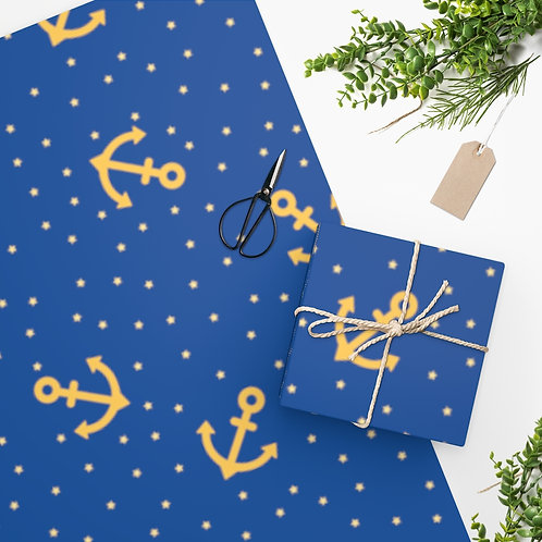 Wrapping Paper Nautical Theme Color Blue With Gold Anchors And Retro Stars