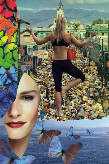 """""""Try the inner peace"""" collage sur papier dimensions : 24 x 36 cm Prix : 120€"""