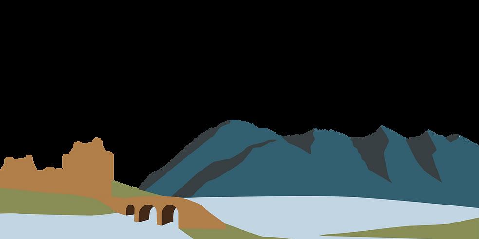 Mountains Five Sisters of Kintail Eilean Donan Castle Bridge Island Chocolate Illistration
