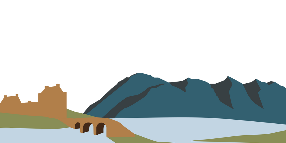 Mountains Five Sisters of Kintail Eilean Donan Castle Bridge Island Chocolate Illistration