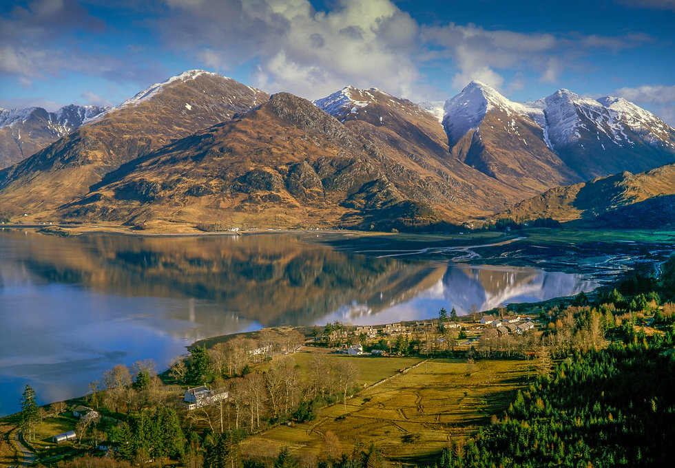 Loch Duich Mam Ratagan Snow Mountains Five Sisters of Kintail