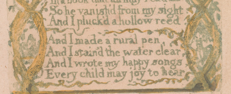 """detail from Songs of Innocence, """"Introduction,"""" c. 1789."""