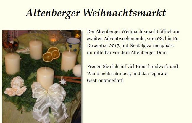 Am 2. Advent, wie jedes Jahr, findet den Altenberger Weihnachtmrkt statt.