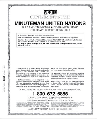 MMUN-18 2018 Scott Minuteman-U.N. Supplement (U.N. stamps only)