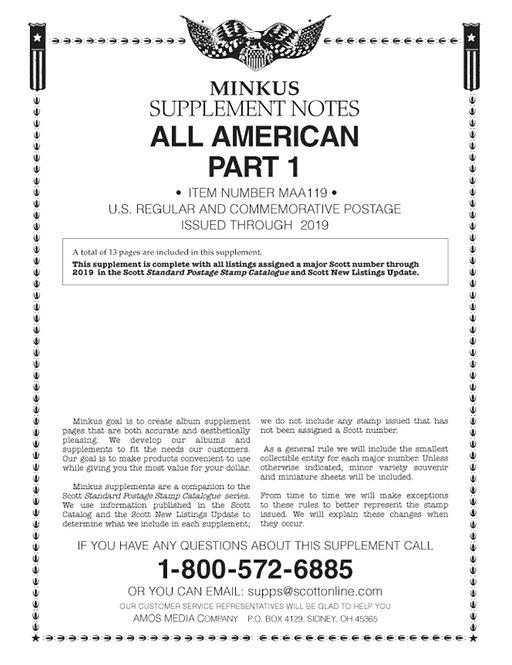 AA-19 2019:   Minkus All American Part 1 Supplement