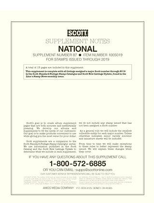 SN-19 2019 Scott U.S. National Supplement #87
