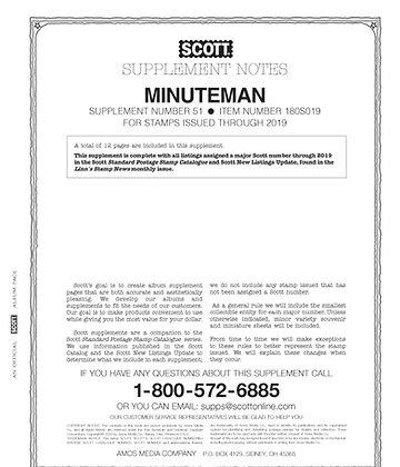 MM-19 Scott U.S. Minuteman Supplement #51 fits 2-post or 3-ring