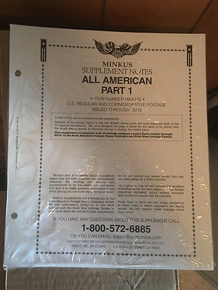 AA-18 2018:   Minkus All American Part 1 Supplement