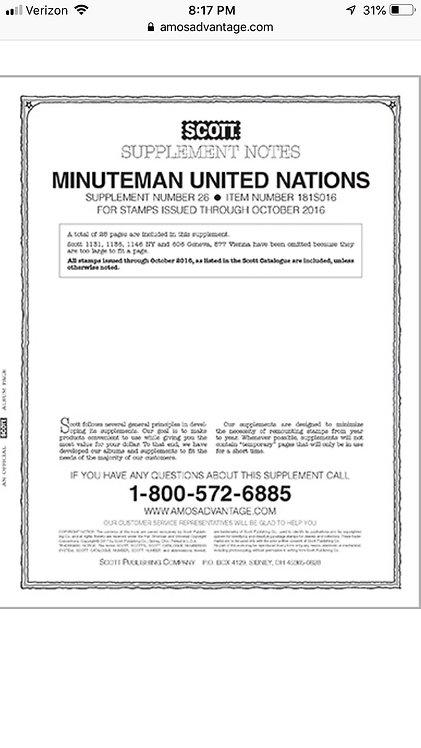 MMUN-16 2016 Scott Minuteman-U.N. Supplement (U.N. stamps only)