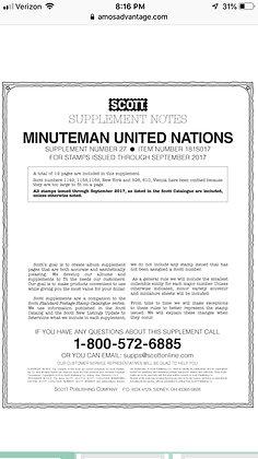 MMUN-17  2017 Scott Minuteman-U.N. Supplement (U.N. stamps only)
