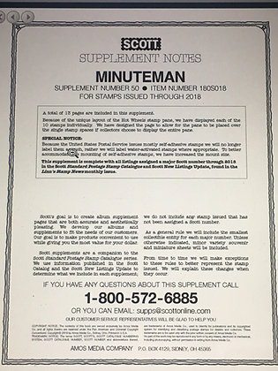MM-18 Scott U.S. Minuteman Supplement #50 fits 2-post or 3-ring