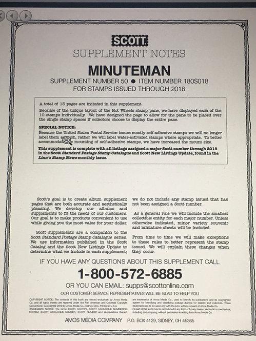 MM-18 Scott U.S. Minuteman Supplement #50 fits 2-post or 3-ring