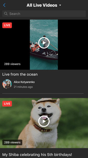 Browse Current Live Streams