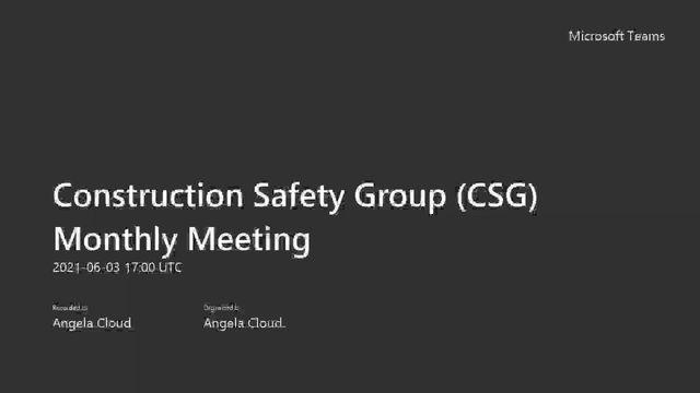 CSG Meeting - June 2021