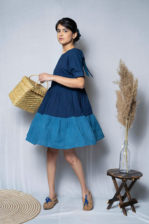 Patched Indigo Tiered Dress