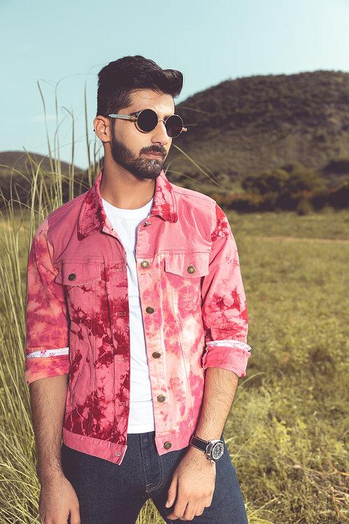 Pink Half & Half Unisex Denim Jacket
