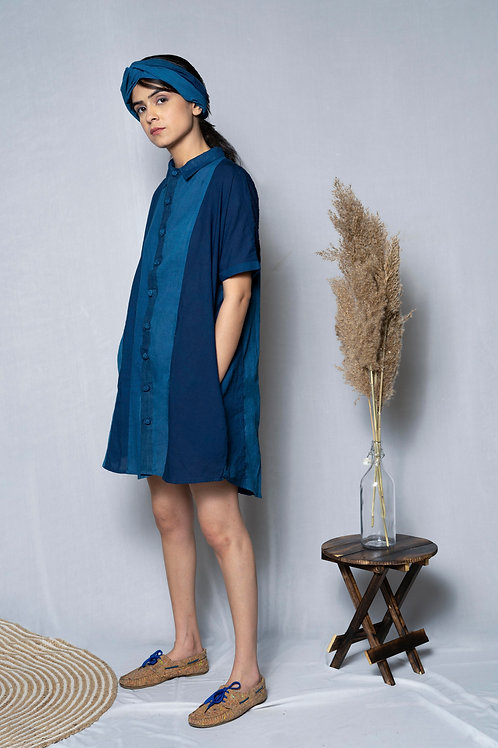 Patched Relaxed Stripe Shirt Dress