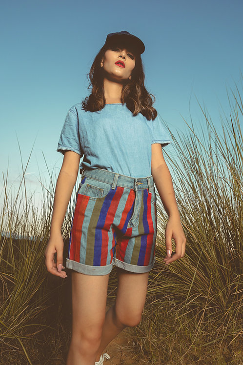 Hand-Painted High Waist Denim Shorts