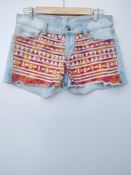Denim Hand Painted Shorts