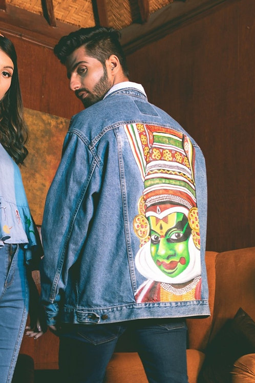 Hand Painted Kathakali Denim Jacket