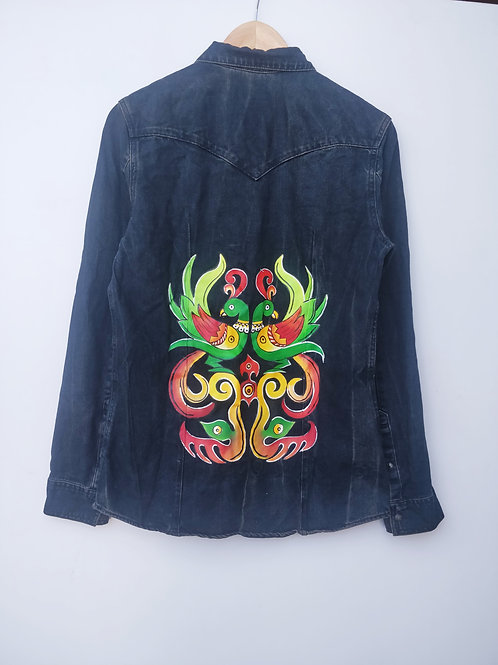 Hand Painted Mittu Black Denim Jacket