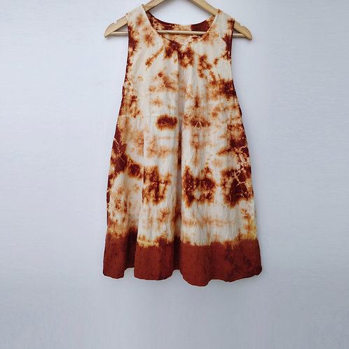 Tie Dye Embroidered Cotton Dress