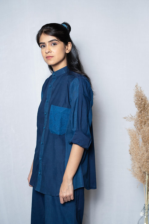 Patched Stripe Chinese Collar Shirt