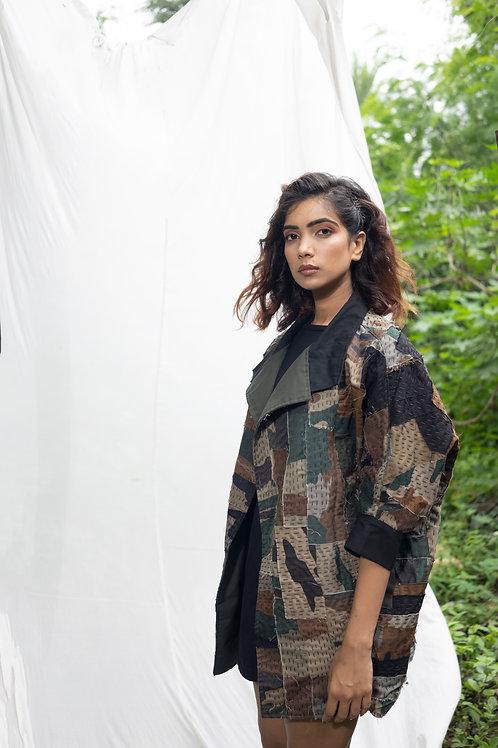 Unisex Camouflaged Patchwork Sashiko Upcycled Sustainable Jacket