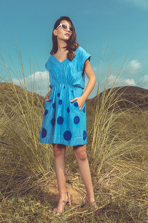 Hand Painted Smudge Polka Dress With Embroidery Detail
