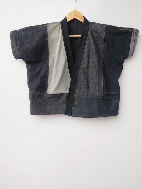 Black Jeans Patch Kimono