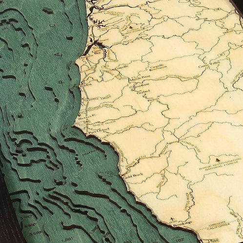 "Beautiful Oregon Coast 3-D Nautical Wood Chart 13.5"" x 43"""