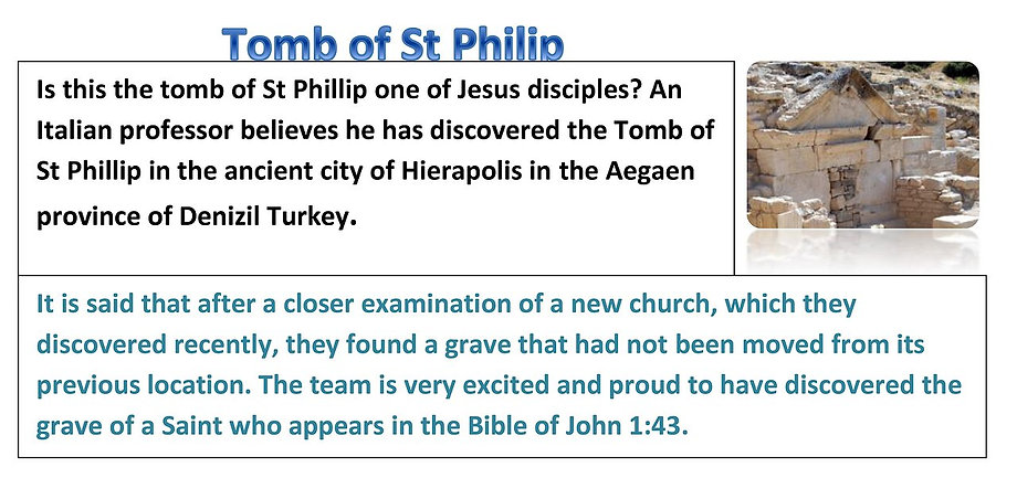 A leading archaeologist professor Francesco D'andria has clamed he has discovered the Tomb of St Philip.