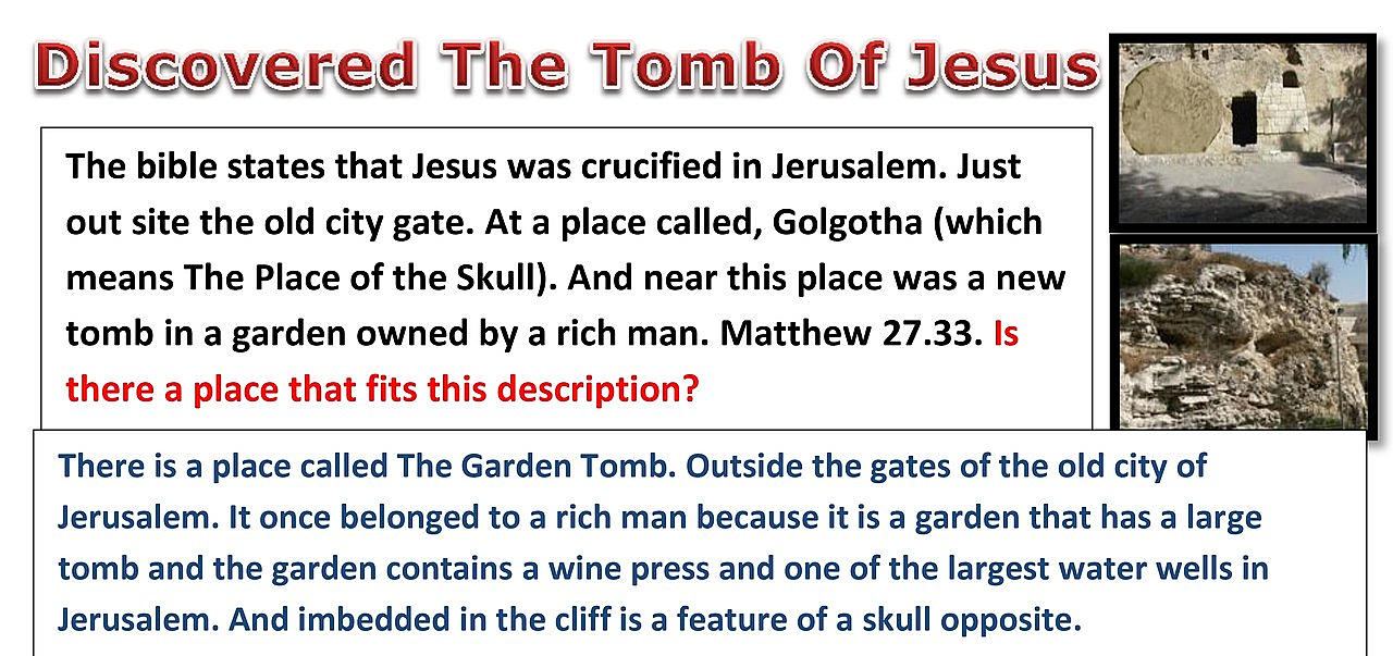 The Garden Tomb. The true tomb of Jesus.