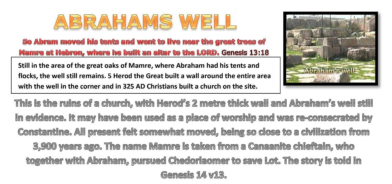 ABRAHAMS WELL Genesis 13:18. Here where Abraham had his tents and flocks, the well still remains