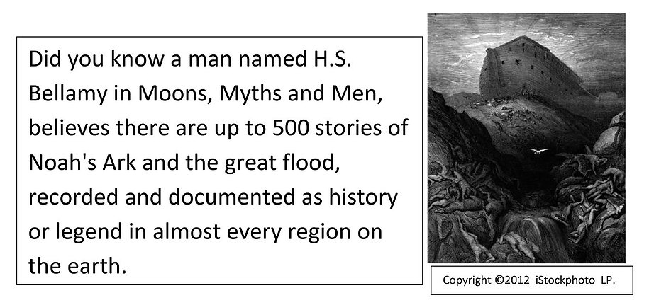 Did you know, up to 500 stories of Noah's Ark and the great flood, recorded and documented as history.