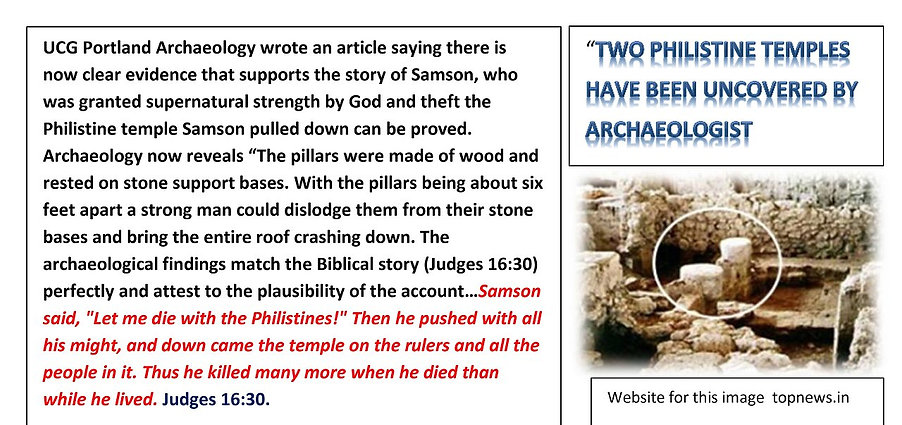 Archaeology supports the story of Samson and Philistine temple