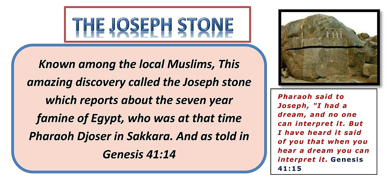 JOSEPH STONE. Known among the local Muslims, This amazing discovery called the Joseph stone which reports about the seven year famine of Egypt,