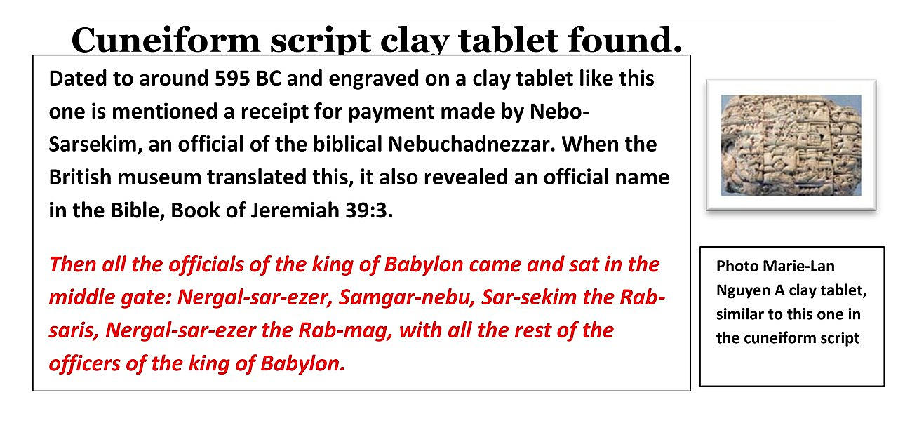 Cuneiform script clay tablet.