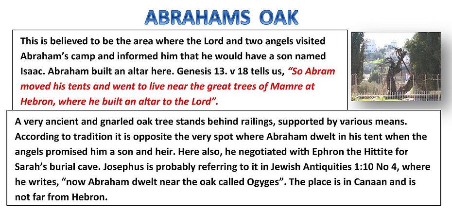 ABRAHAMS OAK Genesis 13 v 18