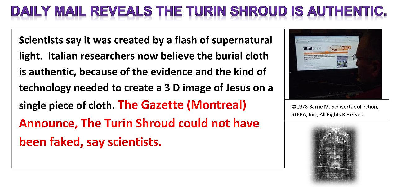 Daily Mail Reveals The Turin Shroud is Authentic,
