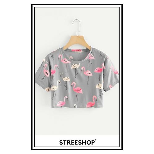 Crop Top (t-shirt) Bird Print by StreeShop