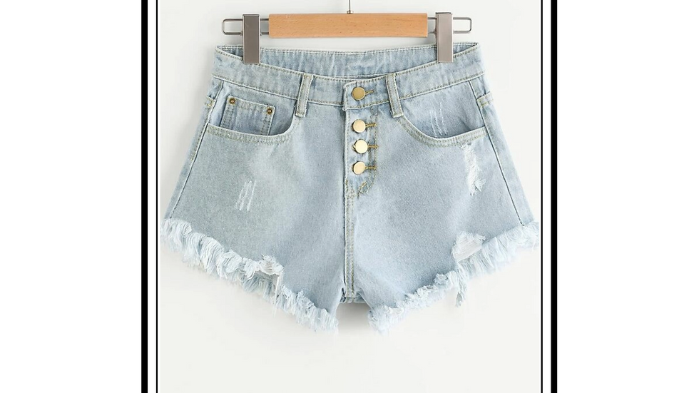 Single Breasted Denim Shorts by StreeShop