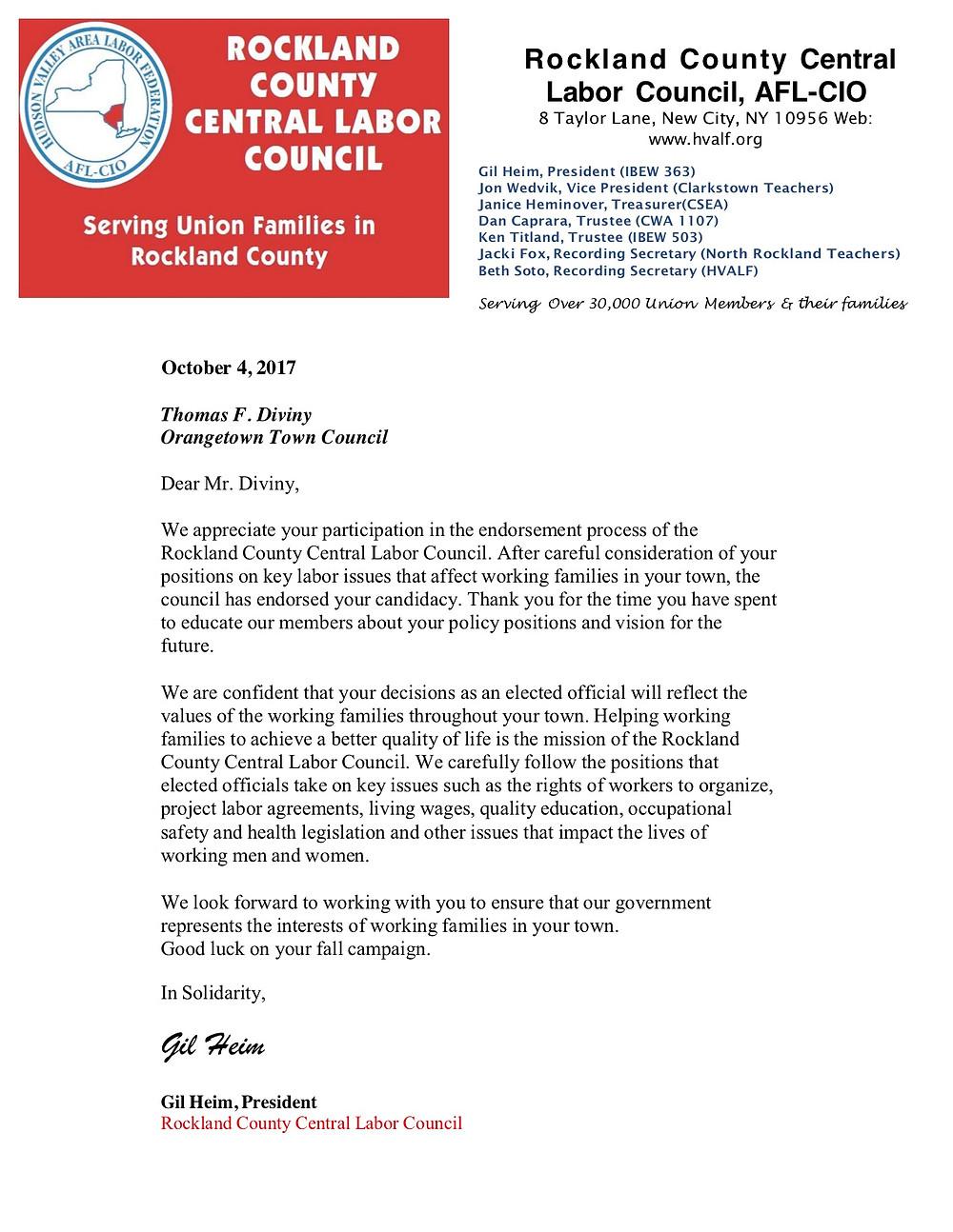 Rockland County Central Labor Council Endorses Tom Diviny
