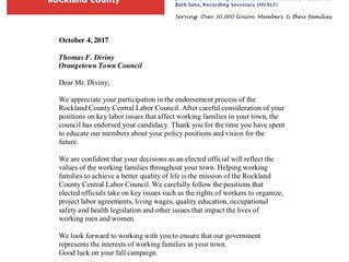 Councilman Diviny Receives Rockland County Central Labor Council Endorsement