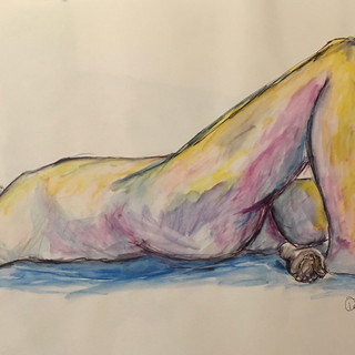 Pen, ink and watercolour pencil on paper