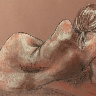 Charcoal and chalk on coloured paper