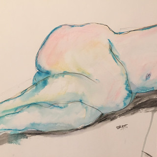 Pen, soluble ink and watercolour pencil on paper